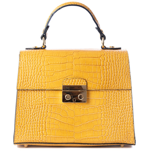 Mustard Yellow Real Italian Leather Croc Satchel Bag