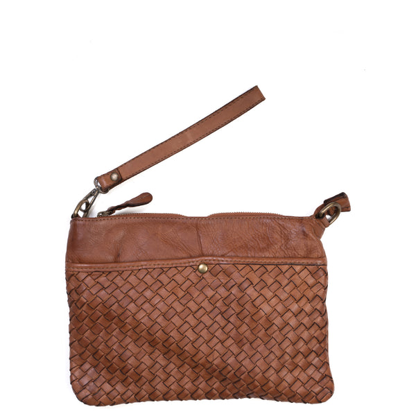 Tan Real Italian Woven Leather Cross Body Bag