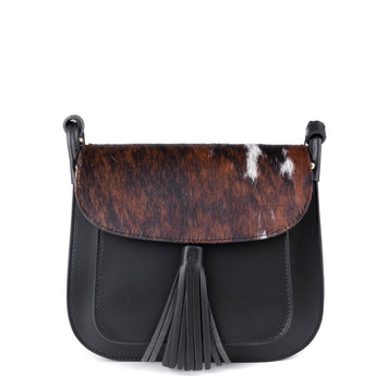 Black Leather and Natural Cow Hair Cross Body Tassel Bag