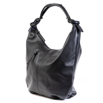 Classic Black Real Leather Slouch Shoulder Bag