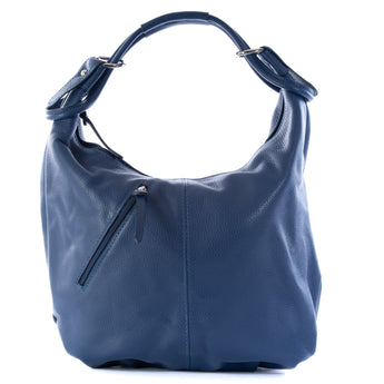 Classic French Navy Blue Real Leather Slouch Shoulder Bag