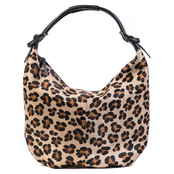 Leopard Classic Cow Hair and Real Leather Slouch Shoulder Bag
