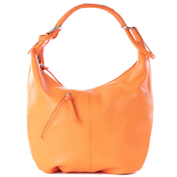 Classic Orange Real Leather Slouch Shoulder Bag