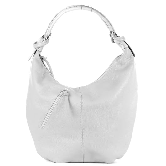 Classic White Real Leather Slouch Shoulder Bag