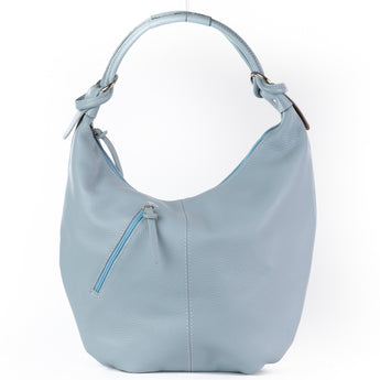 Classic Baby Blue Real Leather Slouch Shoulder Bag