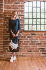 Classic Cow Hair and Real Leather Slouch Shoulder Bag - Lifestyle - Amilu