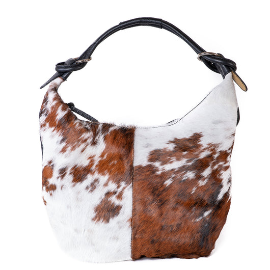 Classic Cow Hair and Real Leather Slouch Shoulder Bag - Amilu