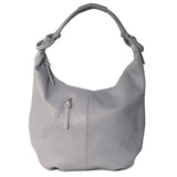 Classic Dark Grey Real Leather Slouch Shoulder Bag - Amilu