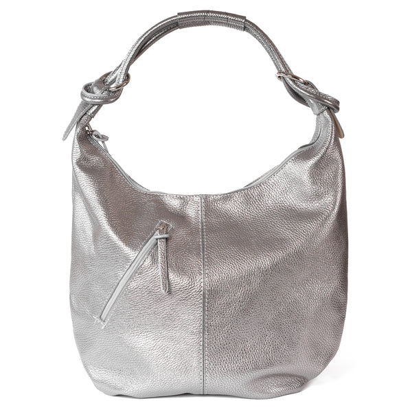 Classic Silver Real Leather Slouch Shoulder Bag - Amilu
