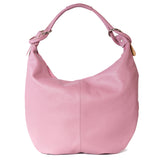 Classic Winter Pink Real Leather Slouch Shoulder Bag - Back - Amilu