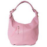 Classic Winter Pink Real Leather Slouch Shoulder Bag - Amilu