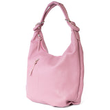 Classic Winter Pink Real Leather Slouch Shoulder Bag - Side - Amilu