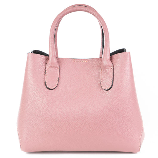 Smoke Rose Real Leather Tote Grab Bag