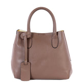 Taupe Real Leather Bucket Grab Bag - Amilu
