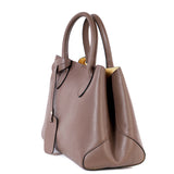 Taupe Real Leather Bucket Grab Bag - Side - Amilu