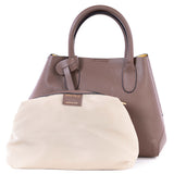 Taupe Real Leather Bucket Grab Bag - Cosmetic Bag - Amilu