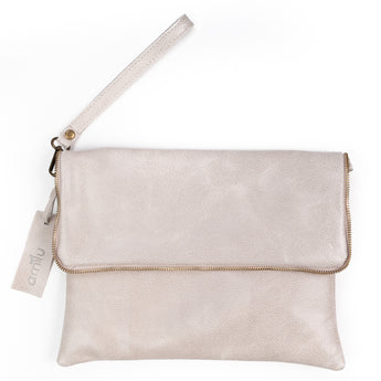 Beige Soft Real Leather Cross Body Bag