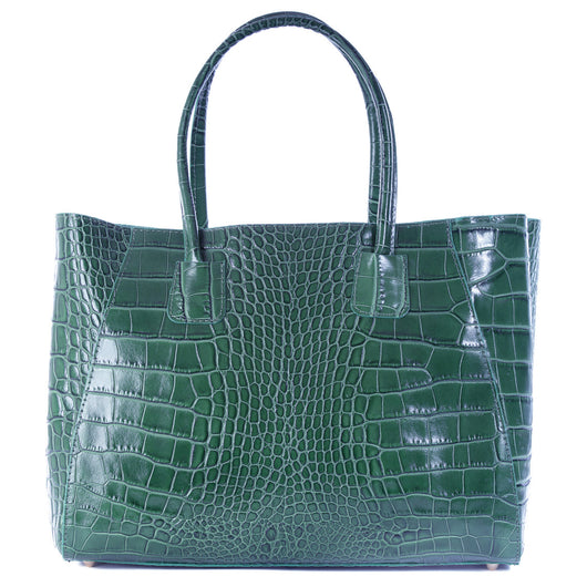 Dark Green Real Leather Croc Tote Bag
