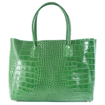 Emerald Green Real Leather Croc Tote Bag