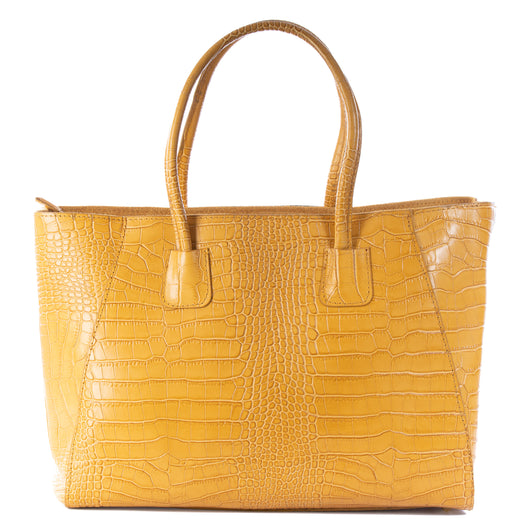 Mustard Yellow Real Leather Croc Tote Bag
