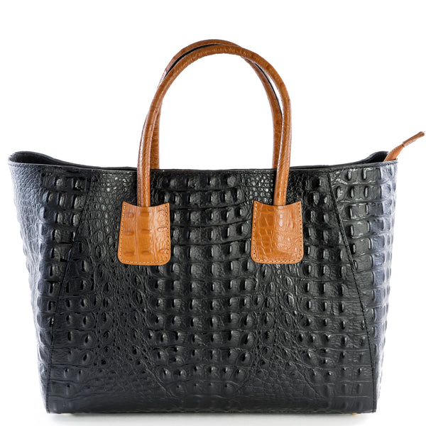 Black and Tan Real Leather Croc Tote Bag - Amilu