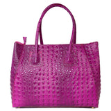 Magenta Pink Real Leather Croc Tote Bag - Amilu
