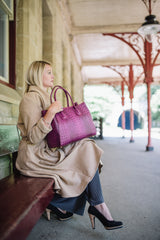 Magenta Pink Real Leather Croc Tote Bag - Lifestyle - Amilu