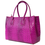 Magenta Pink Real Leather Croc Tote Bag - Side - Amilu