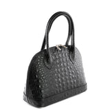 Black Croc Real Leather Grab Bag Side - Amilu