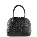 Black Croc Real Leather Grab Bag - Amilu