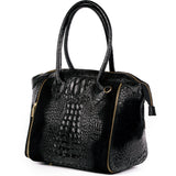 Black Real Italian Leather Croc Tote Bag Side - Amilu