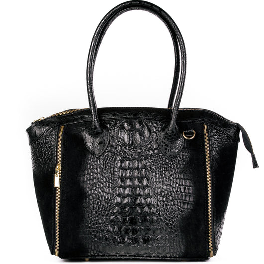 Black Real Italian Leather Croc Tote Bag - Amilu