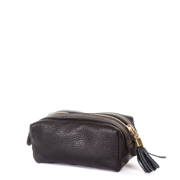 Black Real Leather Cosmetic Bag