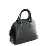 Black Real Leather Grab Tote Bag Side - Amilu
