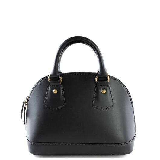 Black Real Leather Grab Tote Bag - Amilu