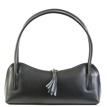 Black Real Leather Shoulder Bag