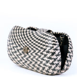 Black & Cream Woven Straw Clutch Bag Opened - Amilu