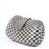 Black & Cream Woven Straw Clutch Bag Side - Amilu