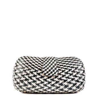 Black & Cream Woven Straw Clutch Bag