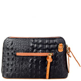 Black & Tan Croc Print Real Leather Cross Body Bag Back - Amilu Handbags