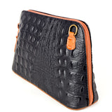 Black & Tan Croc Print Real Leather Cross Body Bag Side - Amilu Handbags