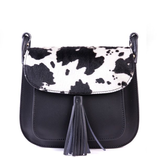 Black Leather and Cow Hair Saddle Cross Body Tassel Bag - Amilu