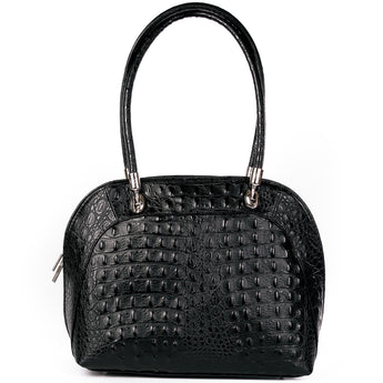 Black Croc Real Leather Shoulder Tote Bag - Amilu