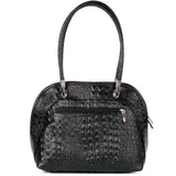 Black Croc Real Leather Shoulder Tote Bag Back - Amilu