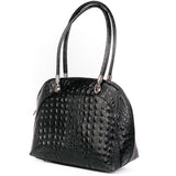 Black Croc Real Leather Shoulder Tote Bag Side - Amilu