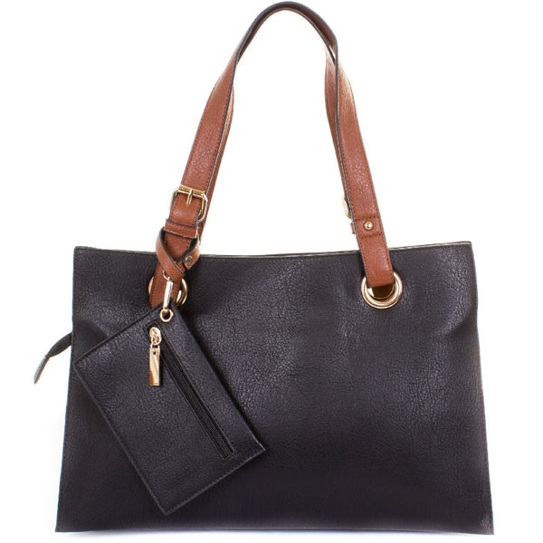 Black Faux Leather Divided Shopper