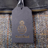 Black Harris Tweed Real Leather Tote Bag - Amilu Handbags