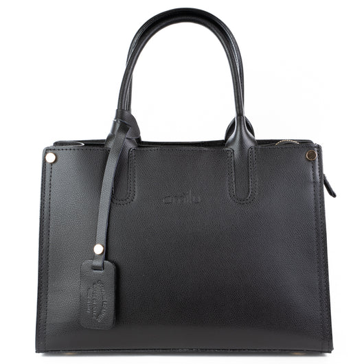 Black Real Textured Ruga Leather Grab Tote Bag