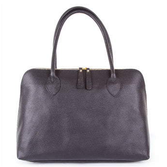 Black Real Leather Shoulder Tote Bag