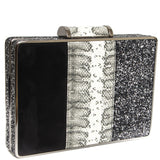 Black & Silver Multi Textured Box Clutch - Amilu